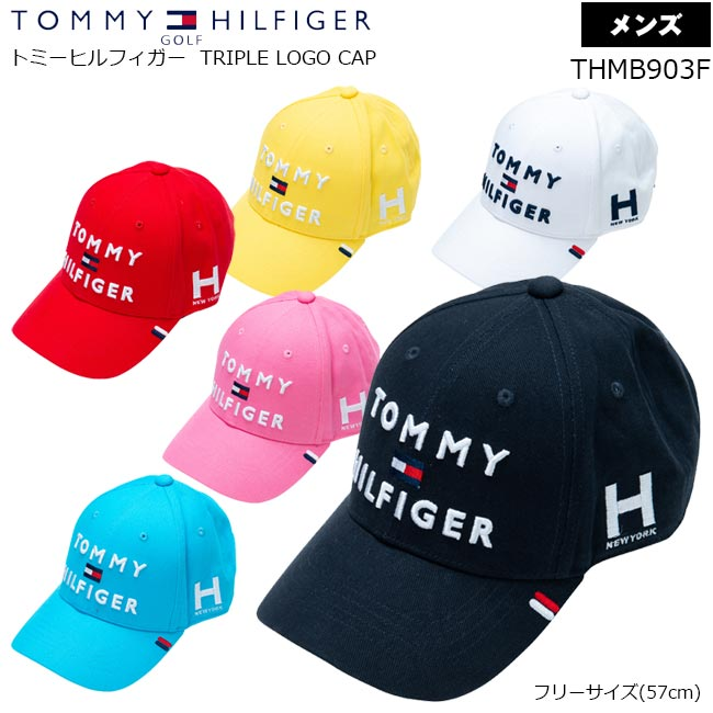 人気の定番モデル TOMMY 買取 HILFIGER GOLF トミー ヒルフィガー ゴルフ 引き出物 CAP TRIPLE B-ONE 3段ロゴキャップ LOGO THMB903F