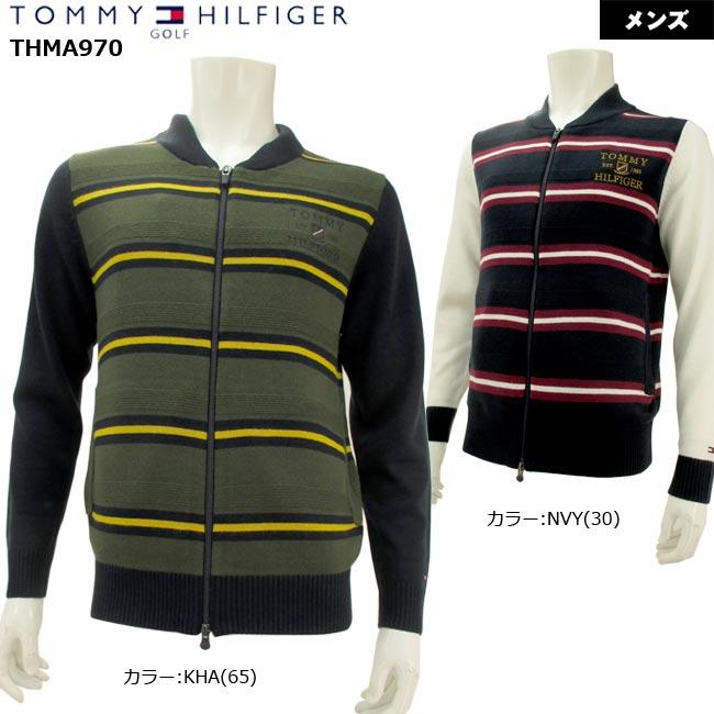 【2019年秋冬新作モデル】 TOMMY HILFIGER GOLF トミーヒルフィガーゴルフ BORDER ZIP UP KNIT (MENS) ボーダー フルジップ ニット ゴルフウェア メンズ  THMA970【B-ONE】