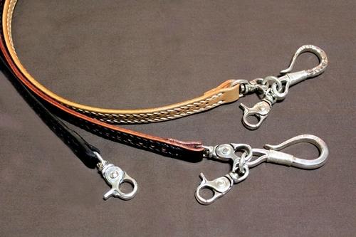 コードバン パンチング平ロープ(シルバーナスカン標準装備) きなり・バーガンディ・黒 【レザー/ロープ】※シルバーキーリングは別売りです。