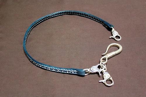コードバン パンチング平ロープ(シルバーナスカン標準装備) 本藍染め 【レザー/ロープ】※シルバーキーリングは別売りです。