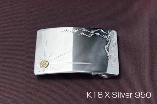 シルバーバックル 単品ゴールドトレードマークタイプ 40mm巾シルバー/シルバー950/18金/18k/バックル