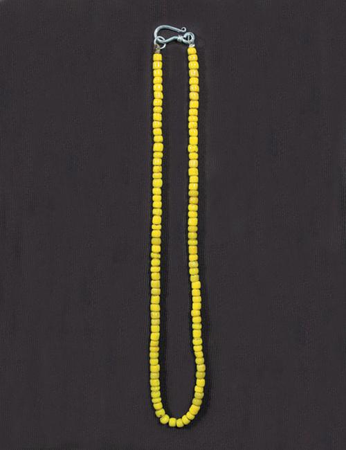 50cm アンティークビーズ ネックレス イエローネックレス/アンティーク/ビーズ/アクセサリー/ホワイトハート/メンズ/レディース