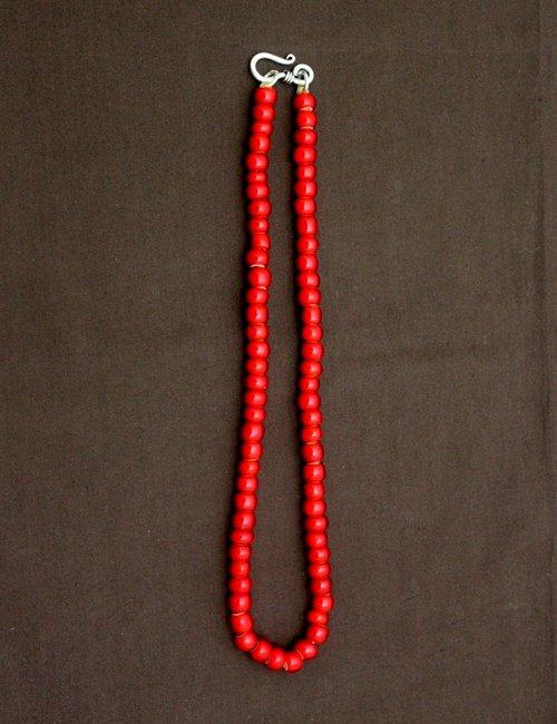 50cm アンティークビーズ ネックレス 赤中玉ネックレス/アンティーク/ビーズ/アクセサリー/ホワイトハート/メンズ/レディース