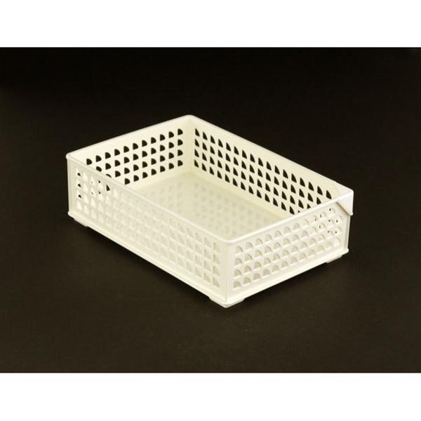 分類別収納に バスケット 安値 ワイド 春の新作 ホワイト 16.6×24×高さ7.3cm