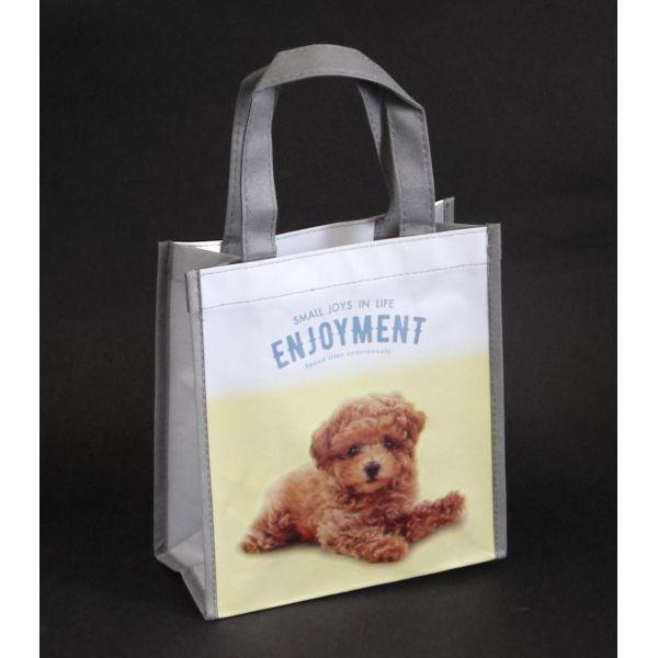 モデル着用&注目アイテム 動物の写真が入った可愛いバッグ 休み 不織布バッグ 縦長S 柄指定不可 かわいいペット柄 縦24×横22×マチ10cm