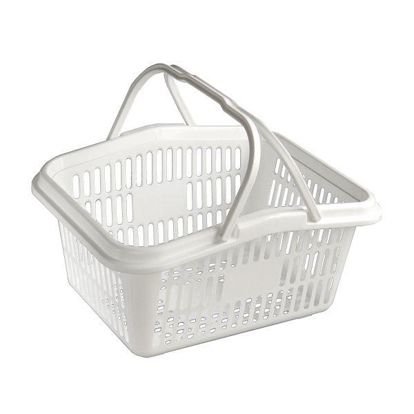 収納にも 春の新作続々 移動にも便利 バスケット 持ち手付 ホワイト 全品送料無料 30×24.6×15.7cm サンテール