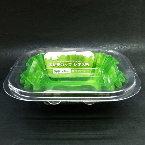 購買 お弁当の彩りに レタス柄のおかずカップ おかずカップ 角小 26枚 底5.5×4×高さ3cm レタス柄 卓越