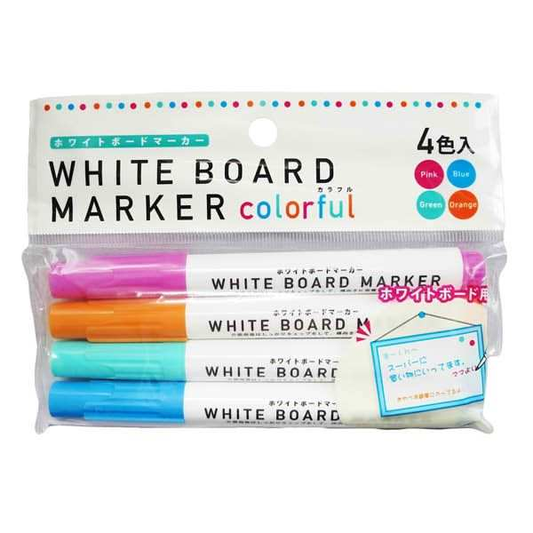 人気ブランド 4色のホワイトボード用マーカーセット 好評受付中 ホワイトボードマーカー カラフル ピンク ブルー グリーン 各色1本 オレンジ 4本入