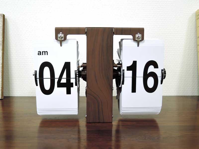 フリップクロック パタパタ時計 置き時計 掛け時計 壁掛け アンティーク ウッド調 木目 シャビー アナログ モダン レトロ インテリア おしゃれ 北欧 アジアン雑貨