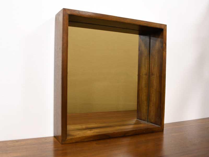 チーク ウォールボックスミラー スクエア ミラー 鏡 無垢 幅45cm アンティーク風 壁掛け 木製 木枠 卓上 置き型 ディスプレイラック おしゃれ チーク材 天然木 アジアン家具 北欧