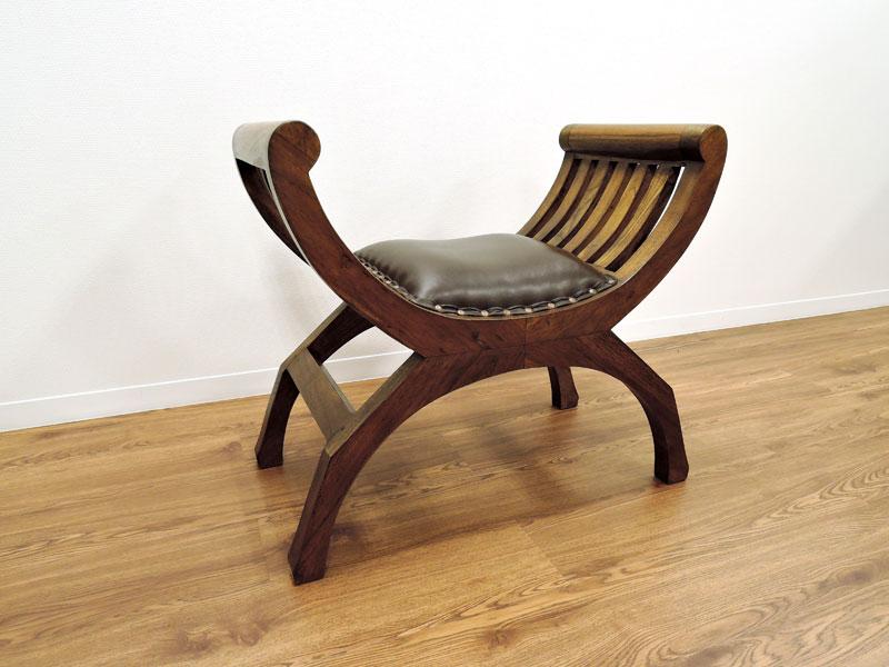 スツール チーク レザー 無垢 シングル チェア オットマン クラブチェア クラブスツール アジアン 北欧 木製 椅子 イス 革 チーク材 天然木 おしゃれ アジアン家具