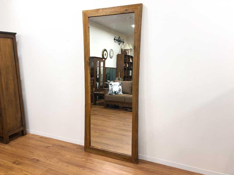ミラー 鏡 チーク 無垢 幅75cm 高さ180cm 姿見 全身 アジアン 古木 オールドチーク 北欧 木製 木枠 チーク材 天然木 アジアン家具【コルベッティ】