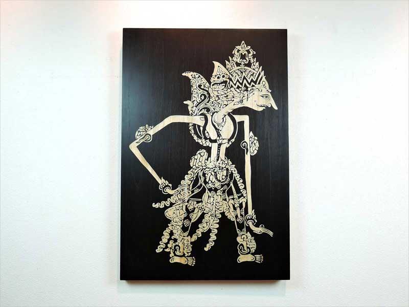 ワヤン メン ウォールデコレーション 手彫り 男 影絵 伝統 木製 壁飾り 壁掛け インテリア モダン 黒 ブラック バリ インドネシア アジアン雑貨
