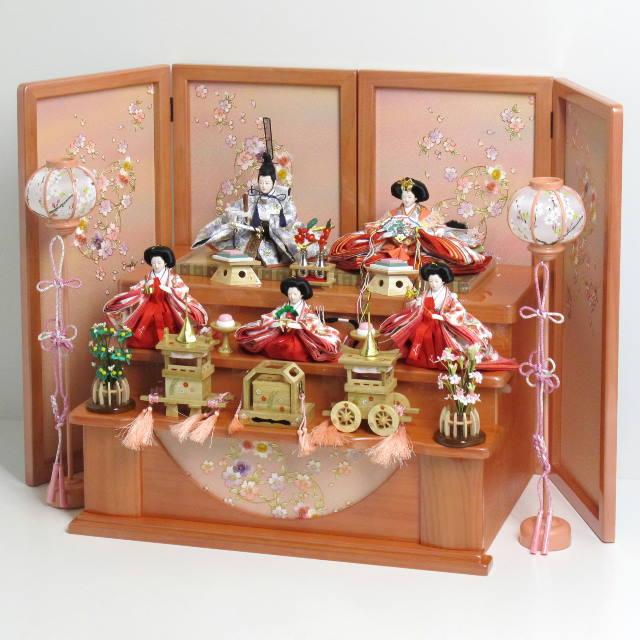 雛人形 三段飾り 雛 ひな人形 優先配送 オレンジ衣装の姫とグレーの殿の友禅雛人形を小さくしまって大きく飾る収納式桜三段飾り コンパクト収納飾り 新作アイテム毎日更新
