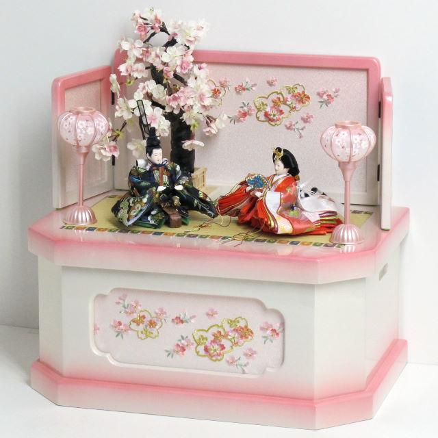 雛人形 コンパクト 収納飾り 雛 コンパクト収納飾り 縁起の良い松竹梅衣装雛の雛人形ぼかしピンクコンパクト収納飾り