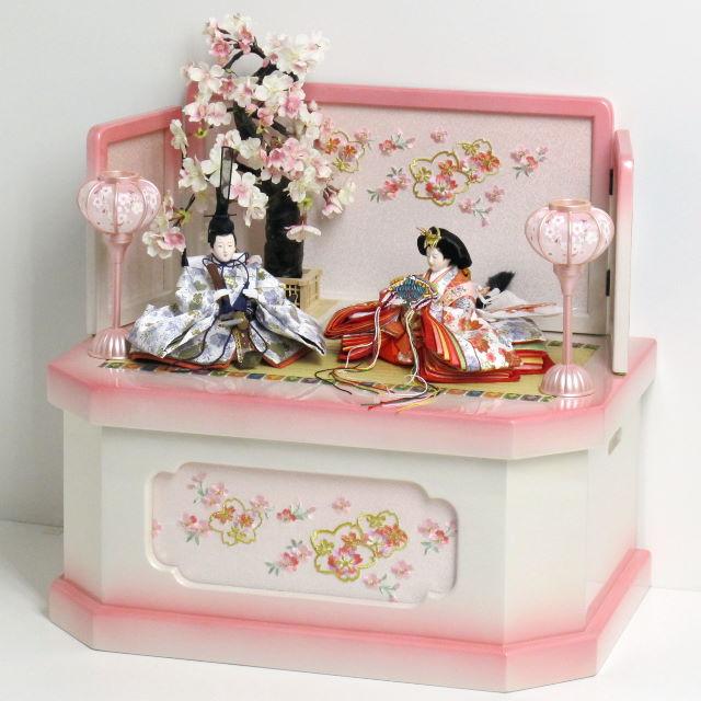 雛人形 収納飾り 雛 コンパクト収納飾り 親王飾り 明るい白地桜柄の雛人形ぼかしピンクコンパクト収納飾り