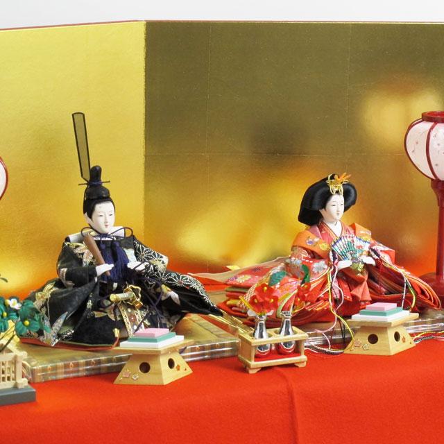 雛人形 ひな人形 収納飾り 雛 コンパクト収納飾り 親王飾り 赤のお姫様と黒のお殿様の雛人形毛氈金屏風コンパクト収納飾り