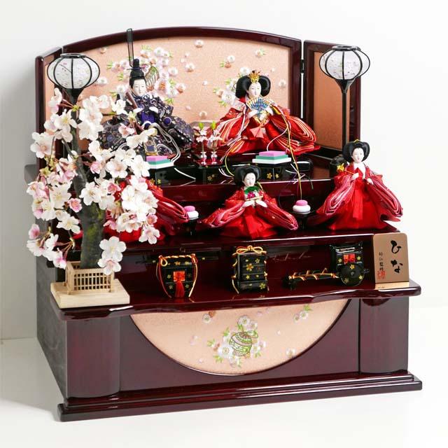雛人形 三段飾り コンパクト収納飾り ひな人形 ハート柄衣装の朱色と黒の雛人形枝垂桜茶塗り三段収納飾り