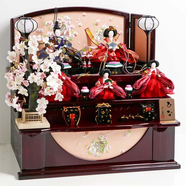 雛人形 三段飾り コンパクト収納飾り ひな人形 オーソドックスな色合いの雛人形枝垂桜茶塗り三段収納飾り