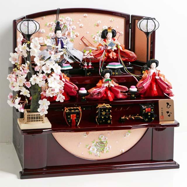 雛人形 三段飾り コンパクト収納飾り ひな人形 桜柄友禅衣装雛人形枝垂桜茶塗り三段収納飾り