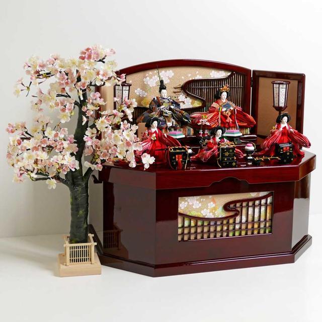 雛人形 三段飾り コンパクト収納飾り ひな人形 オーソドックスな色合いの雛人形古都桜収納五人飾り