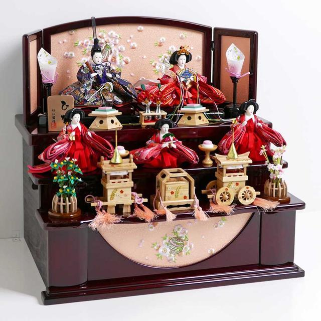 雛人形 三段飾り コンパクト収納飾り ひな人形 オーソドックスな色合いの雛人形茶塗り三段収納飾り