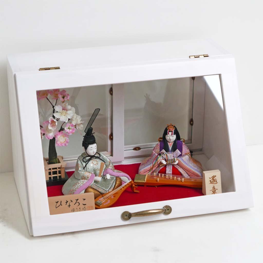 雛人形 親王飾り 木目込み人形 ひな人形 ケース飾り 桃色とうす緑衣装の木目込み人形ガラス収納箱飾り