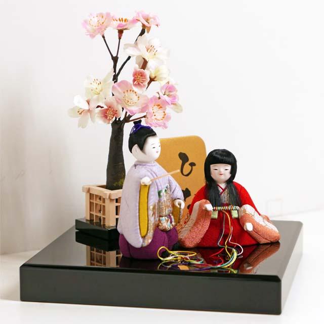雛人形 木目込み 雛 木目込人形飾り ひな人形 コンパクトサイズのかわいい創作木目込み雛人形桜飾り