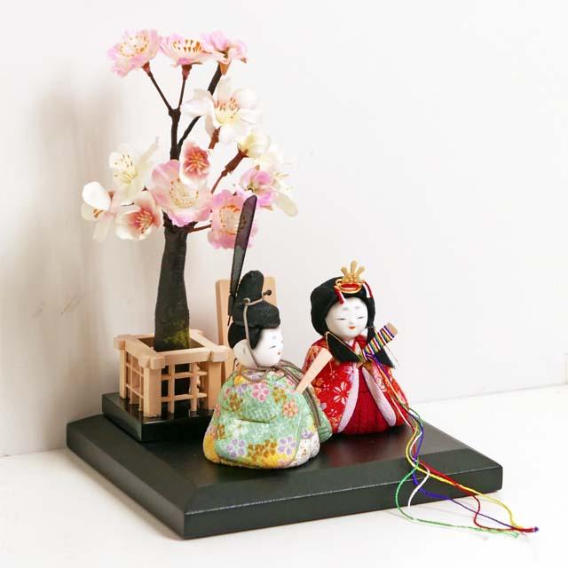 雛人形 木目込み 雛 木目込人形飾り ひな人形 間口16cmの超コンパクト木目込み人形桜飾り