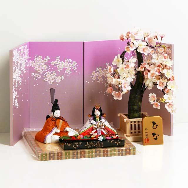 雛人形 木目込人形飾り ひな人形 木目込み人形黄呂染衣装の桜屏風1本桜親王飾り