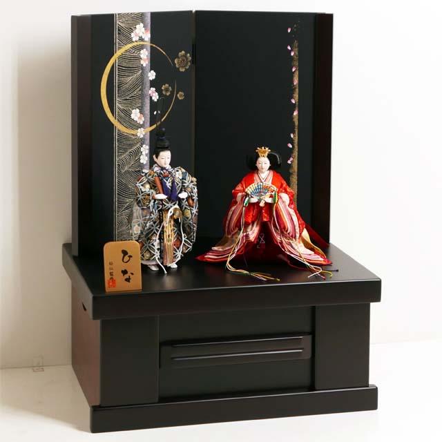 立雛 雛人形 立ち雛 ひな人形 コンパクト収納飾り 親王飾り 品の良い有職立ち雛月桜親王収納飾り