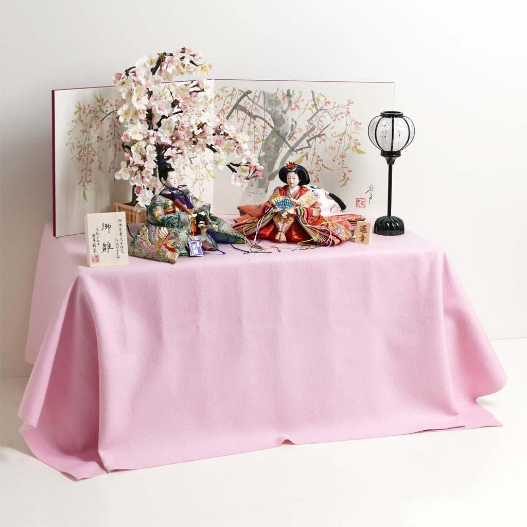 雛人形 ひな人形 コンパクト収納飾り 親王飾り 華やかな鳳凰の刺繍が特徴の雛人形桜収納飾り