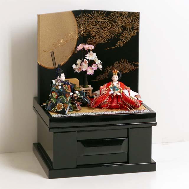 雛人形 コンパクト収納飾り ひな人形 縁起の良い松竹梅衣装雛の雛人形黒地に月と松収納飾り