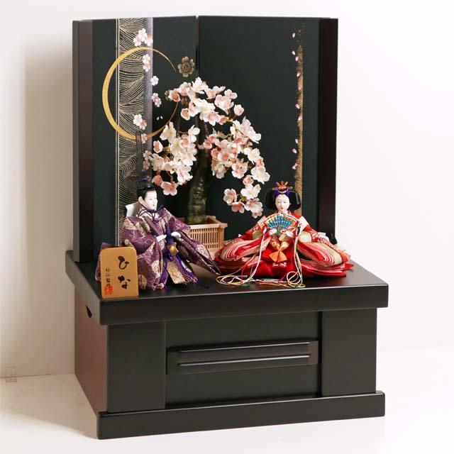 雛人形 コンパクト収納飾り ひな人形 親王飾り 渋めの有職衣装が特徴の雛人形月桜親王収納飾り
