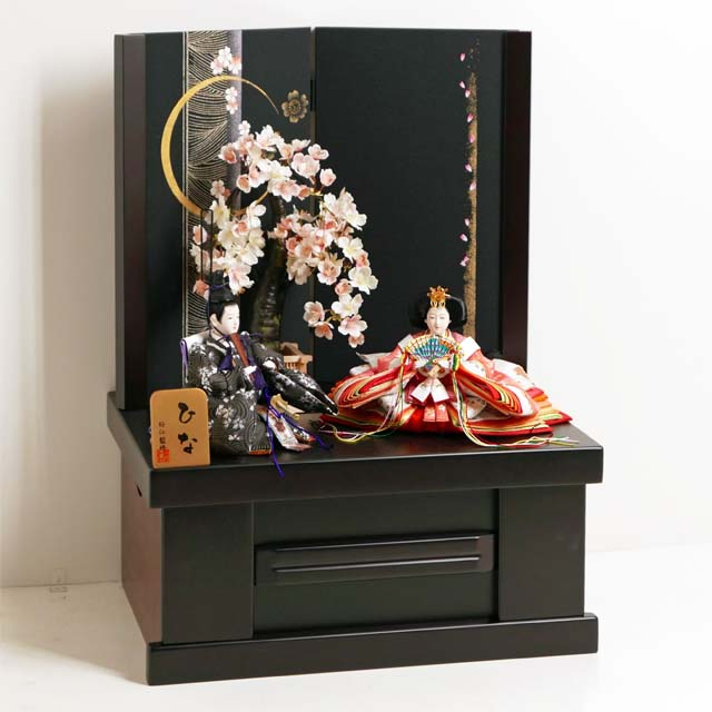 雛人形 コンパクト収納飾り ひな人形 親王飾り 桜の花びら模様を衣装に織り込んだ雛人形月桜親王収納飾り
