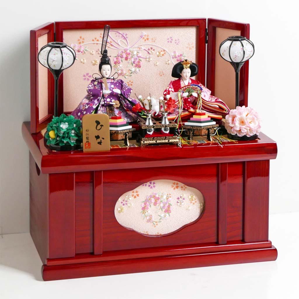 雛人形 コンパクト収納飾り 赤と紫衣装の華やかな雛人形赤塗り親王飾り