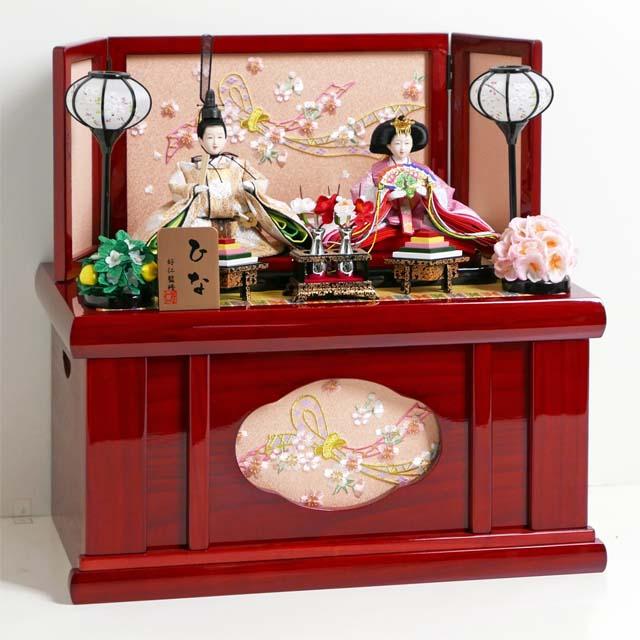 2019年最新入荷 雛人形 コンパクト収納飾り ピンクと金の有職文様衣装雛人形の赤塗りコンパクト収納親王飾り, 本郷町:f6c284bb --- canoncity.azurewebsites.net