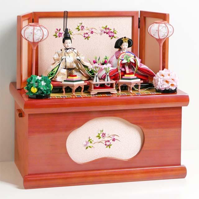 雛人形 コンパクト収納飾り ピンクと金の有職文様衣装雛人形のローズピンク収納飾り