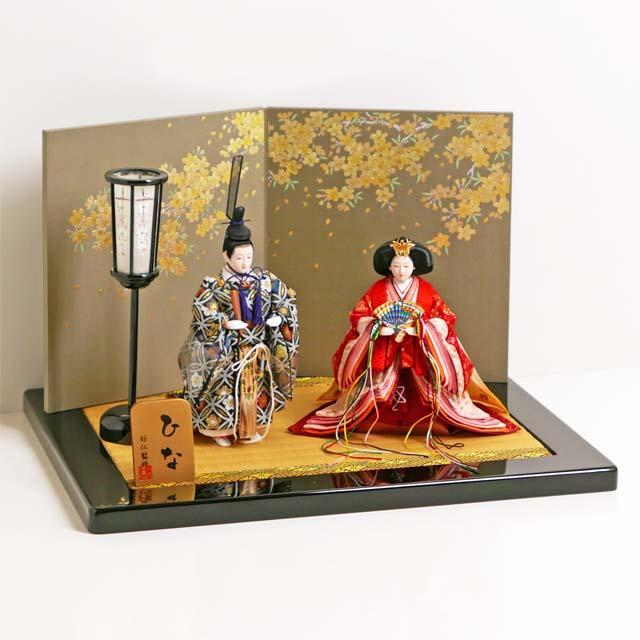 立雛 雛人形 立ち雛 ひな人形 親王飾り 品の良い有職立ち雛金桜飾り