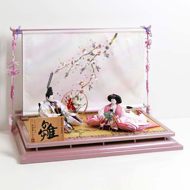 雛人形 平飾り ひな人形 淡く清楚な色あいの衣装の雛人形金彩桜ぼかし几帳親王飾り