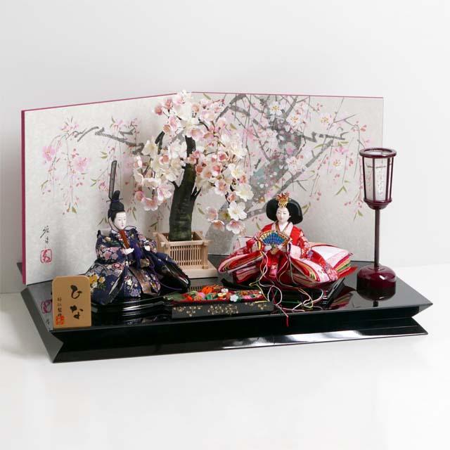 雛人形 親王飾り 雛 平飾り ひな人形 桜模様の金襴衣装雛人形手描き桜屏風桜親王飾り