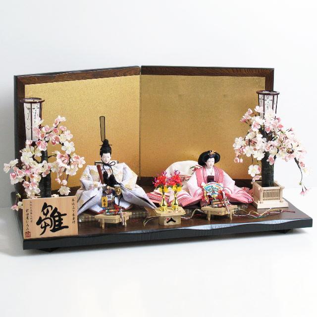 雛人形 親王飾り 雛 平飾り ひな人形 淡く清楚な色あいの雛人形の京洛桜親王飾り