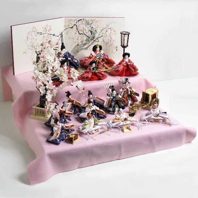 雛人形 収納飾り 十五人飾り ひな人形 ワクワクする雛人形十五人揃い桜飾り