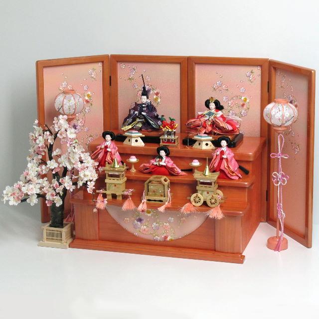 雛人形 三段飾り 雛 コンパクト収納飾り ひな人形 赤と紫衣装のなでしこ柄雛人形を小さくしまって大きく飾る収納式三段桜飾り
