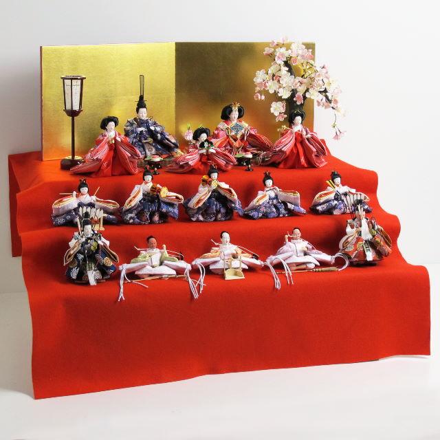 雛人形 三段飾り 収納飾り ひな人形 ワクワクする十五人揃い収納三段飾り