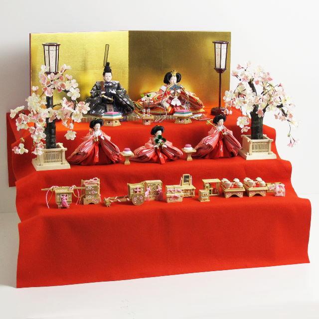 雛人形 三段飾り 雛 コンパクト収納飾り ひな人形 嫁入り道具が揃ったかわいい収納三段飾り