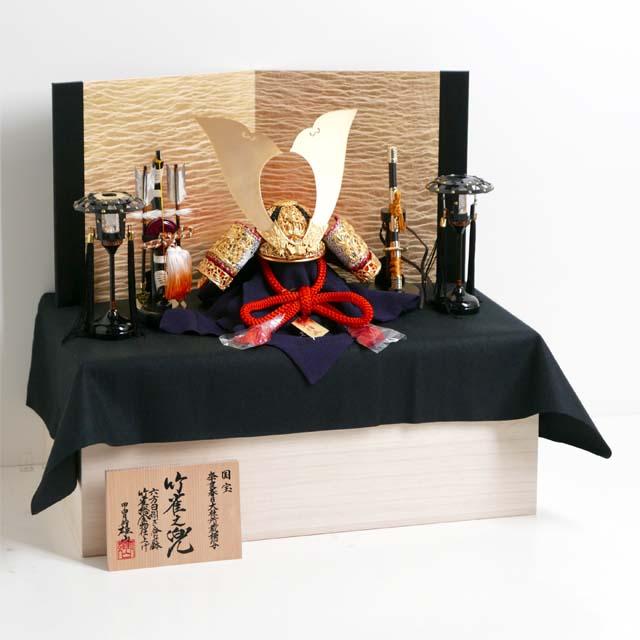 竹雀之兜15号絹張り金屏風かがり火収納飾り 雄山作 国宝模写 五月人形 兜飾り 収納兜 兜収納飾り