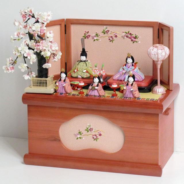 雛人形 木目込み 雛 木目込人形飾り ひな人形 ちょっと渋め衣装の五人揃いローズピンク収納桜木目込人形飾り