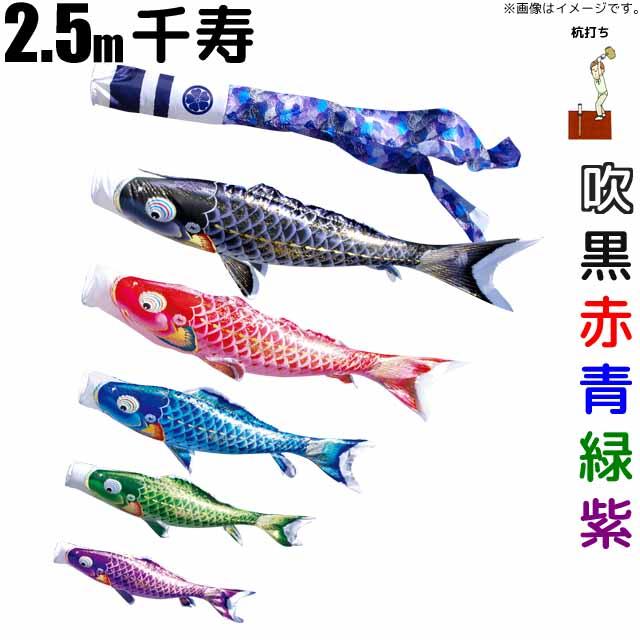 こいのぼり 千寿 鯉のぼり 2.5m 鯉5色8点 庭園用 ガーデンセット 徳永鯉 千寿鯉 徳永
