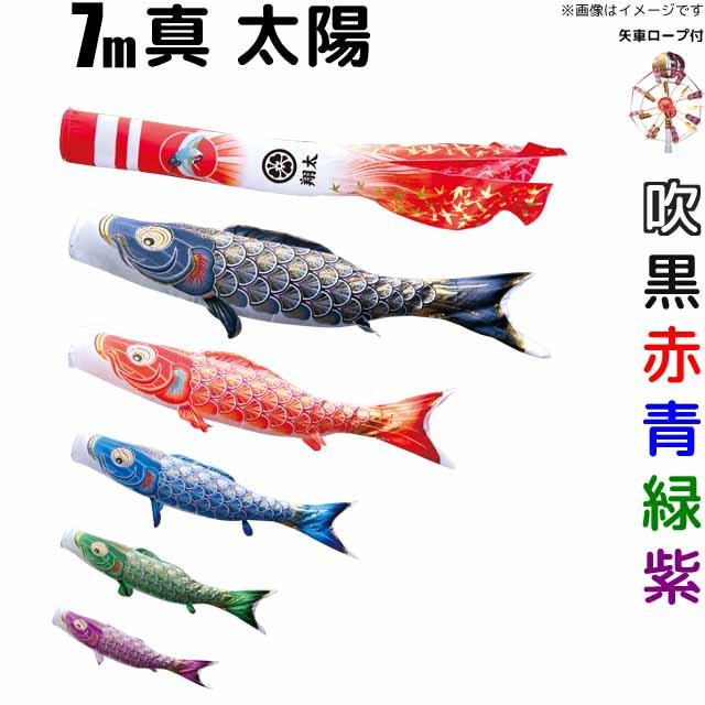 こいのぼり 真・太陽 鯉のぼり 庭園用 7m 鯉5色 8点セット 徳永鯉 真・太陽鯉 徳永